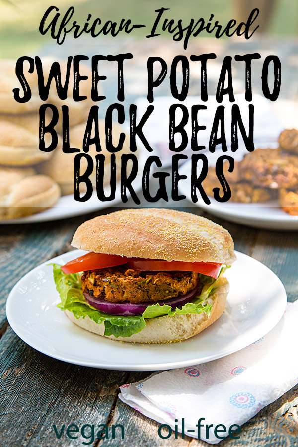 African-Inspired Sweet Potato Black Bean Burger: Sweet potatoes, black beans, and a hint of peanut butter combine with cumin and ginger to create these delicious West African-inspired veggie burgers. #vegan #oilfree #wfpb