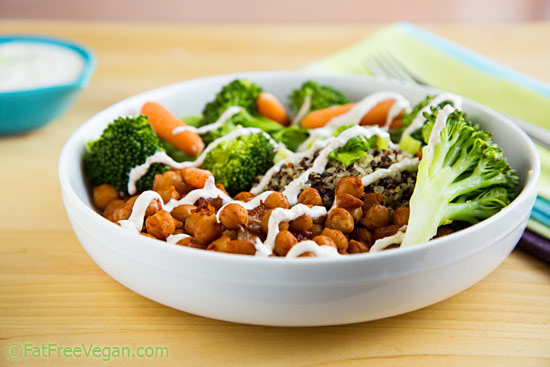 Chickpea and Broccoli Bowl with Tahini Sauce