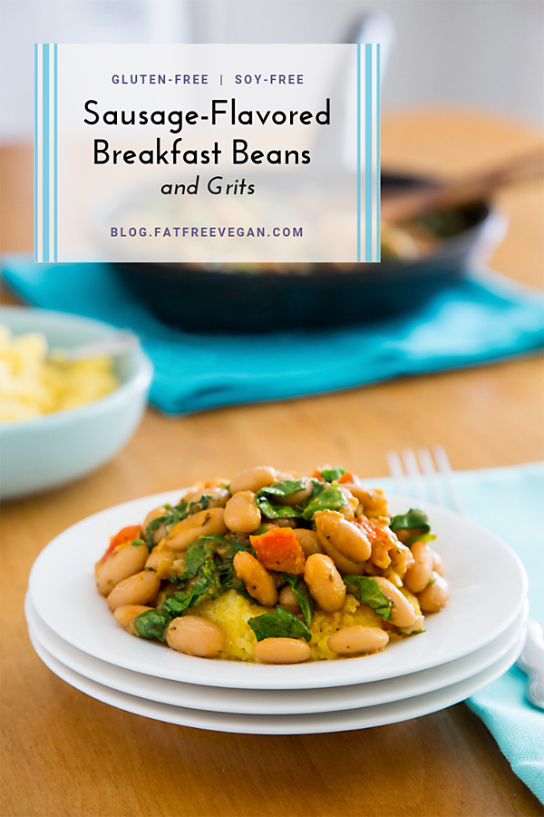Sausage-Flavored Breakfast Beans and Grits: Fennel seed, sage, oregano, basil, red pepper flakes, and hickory salt give these sausage-flavored beans their wonderful flavor. #vegan #wwfreestyle #wfpb