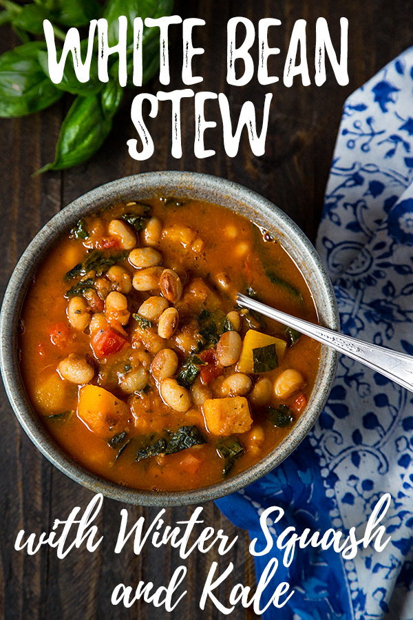 White Bean Stew with Winter Squash and Kale: This vegan white bean stew includes butternut squash, kale, and fresh basil for a hearty and flavorful one-pot meal. #vegan #wfpb #oilfree