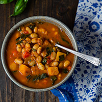 White Bean Stew with WInter Squash and Kale