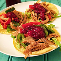 Tacos with Jalapeño-Orange Cranberry Sauce on Instagram
