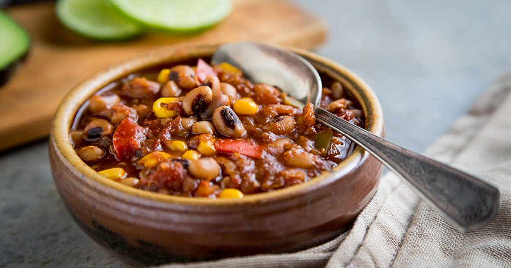 Blackeyed Pea Chili with Quinoa and Corn