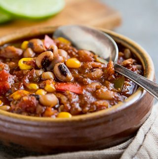 Blackeyed Pea Chili with Quinoa and Corn