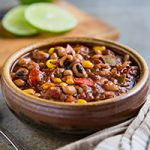 Vegan Black-eyed Pea Chili with Quinoa and Corn