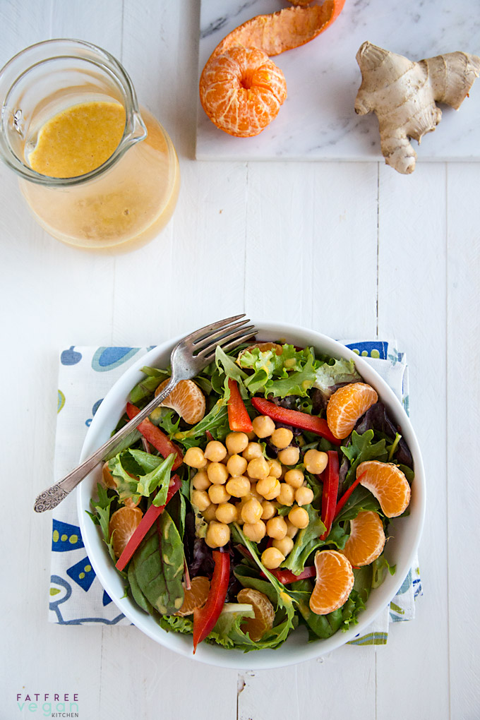 Clementine Dressing with Wasabi and Ginger: Tiny, sweet oranges make this low-fat clementine dressing sweet and tangy but wasabi makes it zing. Fat-free, refined sugar-free. Vegan.