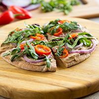 Spicy Baba Ganoush Pita Pizza