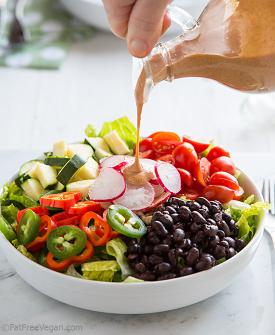 Holy Moly Spicy Chipotle Dressing is a no-oil vegan chipotle dressing that will spice up any salad