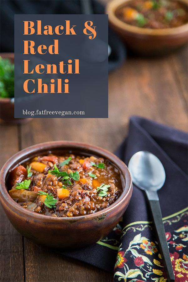 Black and Red Lentil Chili: Black lentils hold their shape and add a hearty texture while red lentils soften and thicken this smoky, flavorful vegan chili. #vegan #0points #wfpb #zeropoints #veganww #weightwatchers #freestyle #wfpbno