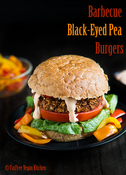 Barbecue Black-Eyed Pea Burgers | Recipe from FatFree Vegan Kitchen