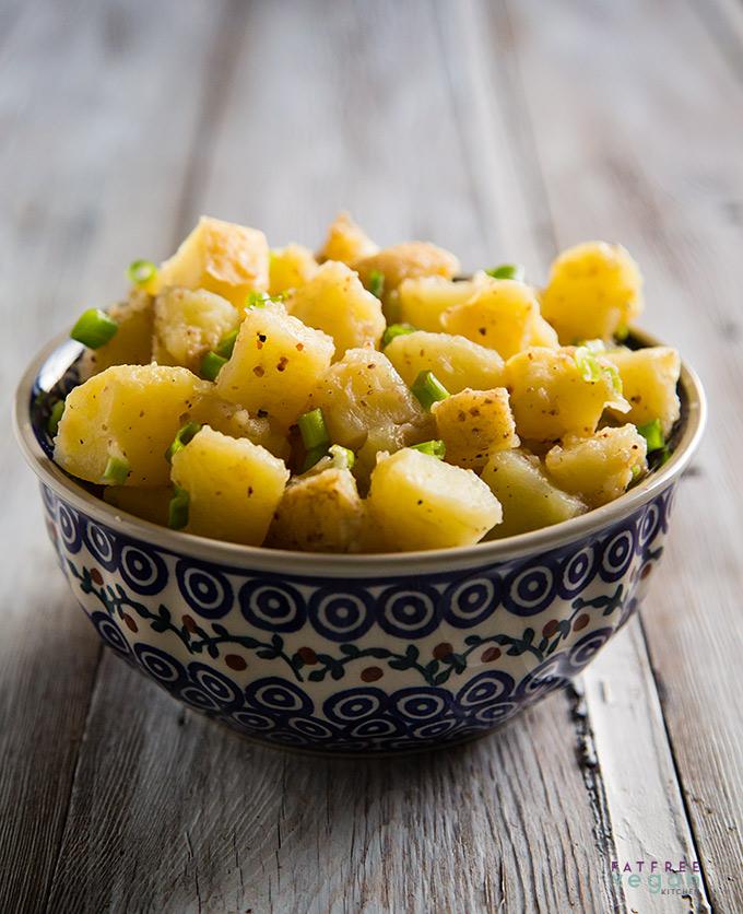Oil-Free Vegan German Potato Salad in Polish Pottery Bowl