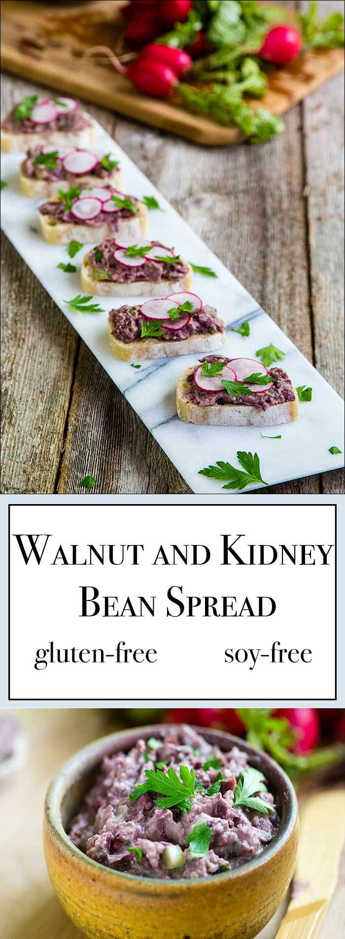 This tangy vegan kidney bean spread tastes great stuffed into a pita or spread on bread. Load it up with lots of fresh veggies for a great sandwich.