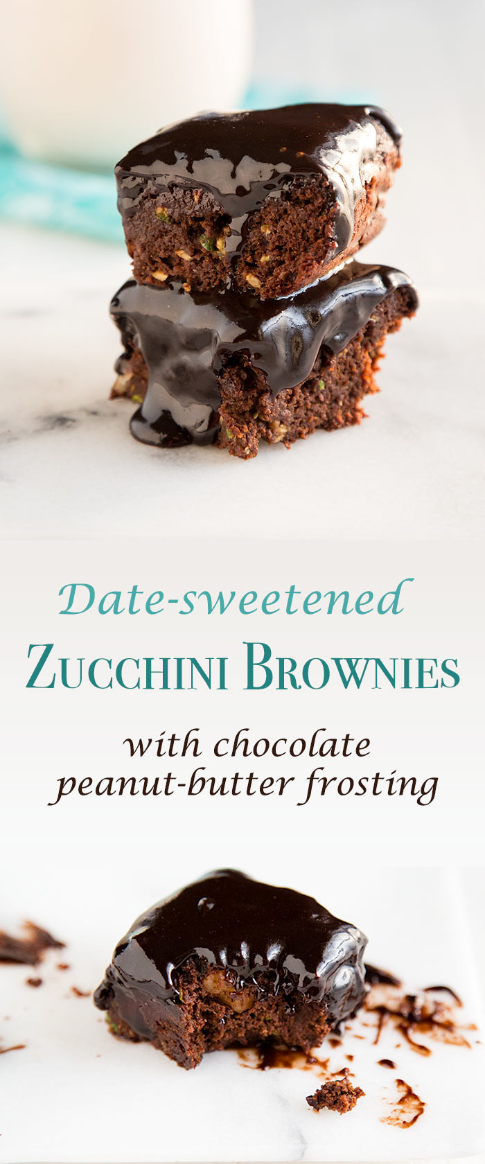 These vegan zucchini brownies are low in sugar and fat, but the decadent chocolate-peanut frosting makes them taste rich and fudgy. #vegan #wfpb