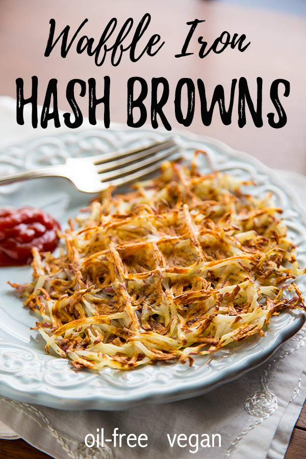 Oil-Free Waffle Iron Hash Browns: Crispy on the outside, tender on the inside, these waffle iron hash browns contain one ingredient: potatoes! Easy, whole food plant based breakfast! #vegan #wfpb