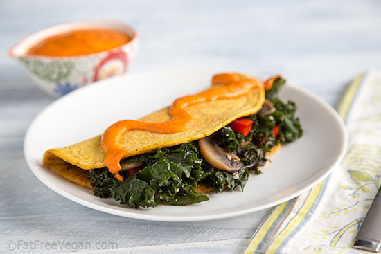 Chickpea Flour Omelets with Garlicky Roasted Red Pepper Dressing
