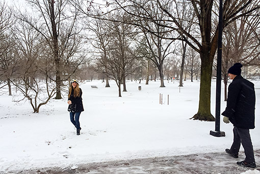 Daughter E in Snowball Fight at Oberlin College