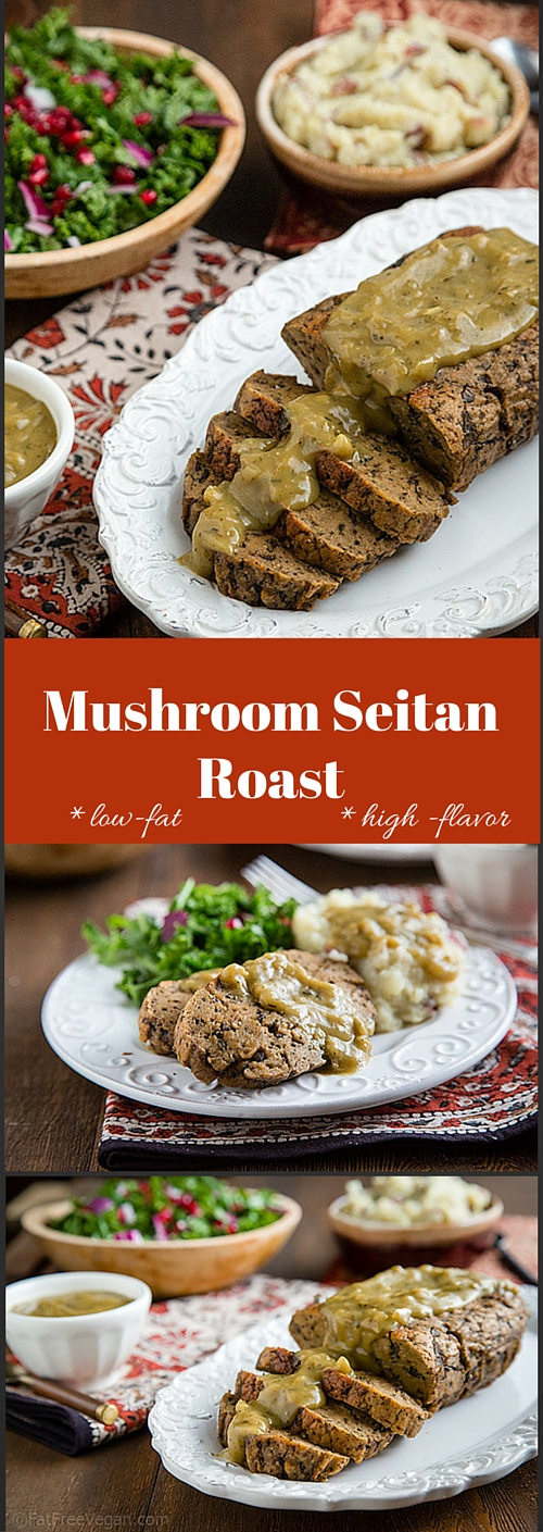 This tender seitan roast is sure to be the star of your holiday table. #vegan #lowfat #thanksgiving #wfpbno #wfpb #forksoverknives.