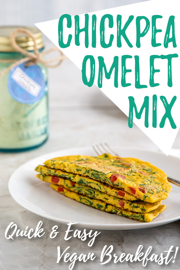 Chickpea Omelet Mix: It's easy to have chickpea omelets anytime! Simply mix with water and your favorite veggies. Cook and enjoy.Makes an excellent gift for your favorite vegan. #vegan #glutenfree #wfpb #wfpbno