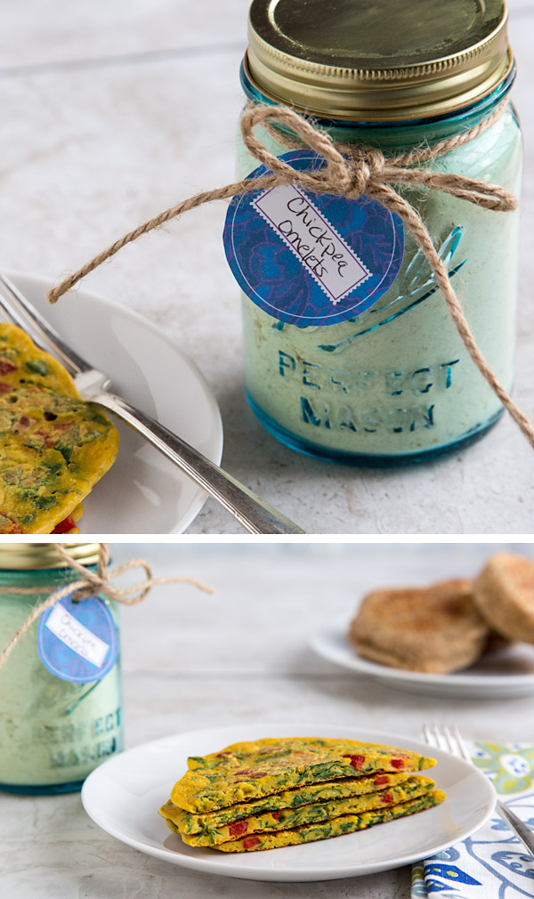 Chickpea Omelet Mix: It's easy to have chickpea omelets anytime! Simply mix with water and your favorite veggies. Cook and enjoy. #vegan #glutenfree #wfpb #wfpbno