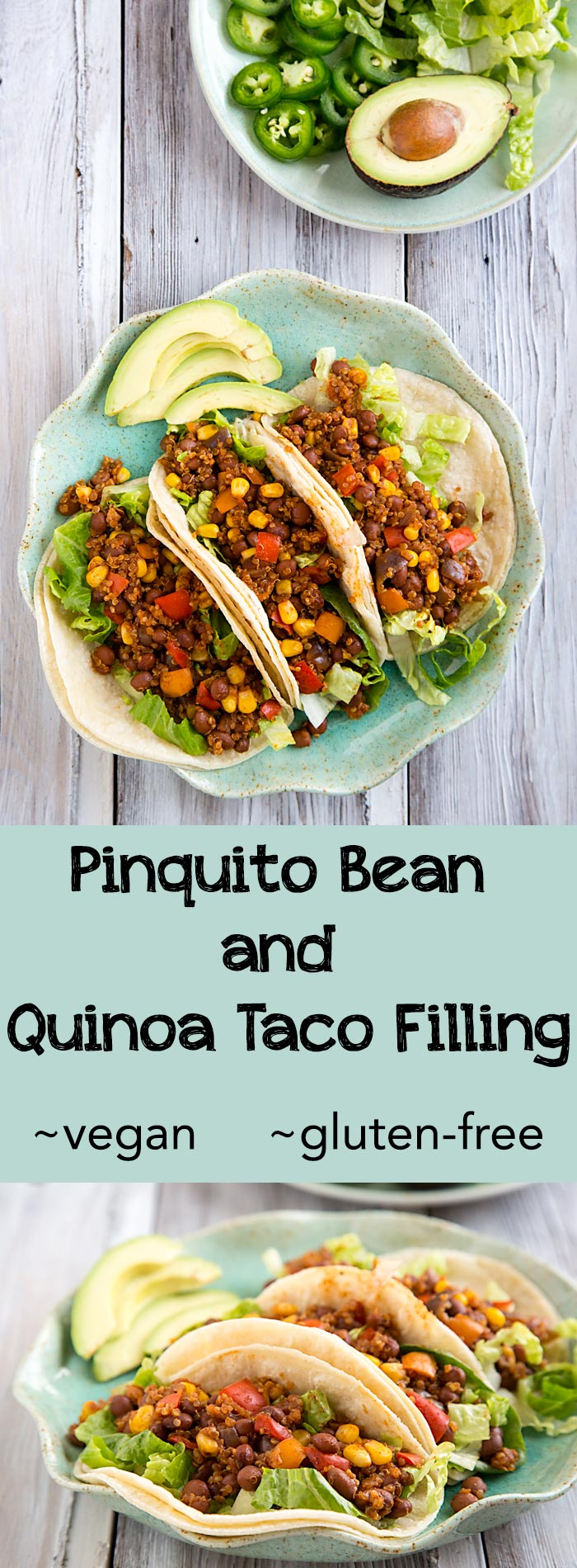 You won't miss the flavor or texture of meat with this vegan taco filling made with beans and quinoa. Gluten-free and fat-free too! #vegan #tomatofree #wfpb #1point