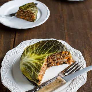 Vegan Chou Farci (Cabbage Stuffed with Barley and Lentils)