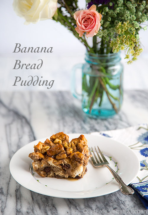 Vegan Banana Bread Pudding: You will never know there's no added fat in this vegan bread pudding, a healthy version of the decadent New Orleans' dessert.