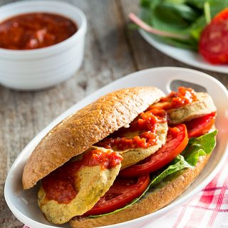 Oven-Fried Eggplant PoBoy Sandwiches