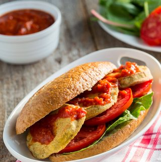 Dipped in this gluten-free batter and baked, eggplant comes out crispy on the outside, soft and creamy on the inside, and it's perfect on a poboy sandwich.