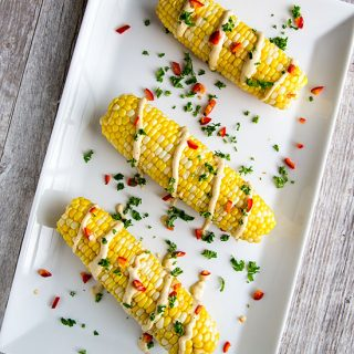 Vegan Elote or Mexican-Inspired Corn on the Cob with Hemp-Lime Sauce