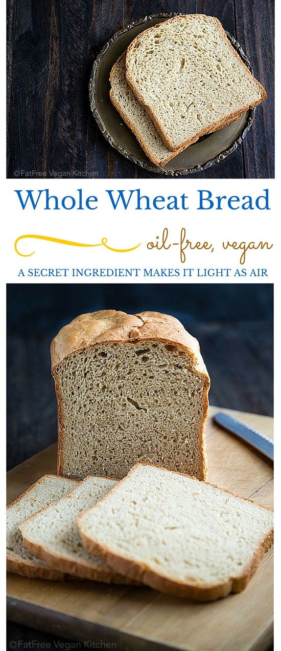 This FatFree Vegan Bread Machine Whole Wheat Bread has a Secret Ingredient.