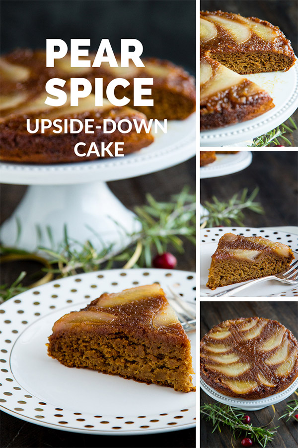 Pear Spice Upside-Down Cake: Moist, full of spices, and with the sweetness of maple syrup, no one will believe that this pear upside-down cake is fat-free and #vegan #wfpbno #wfpb #fok