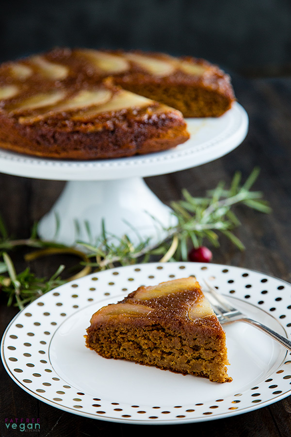 Pear Spice Upside-Down Cake: Vegan and Almost Fat-Free #wfpb #wfpbno