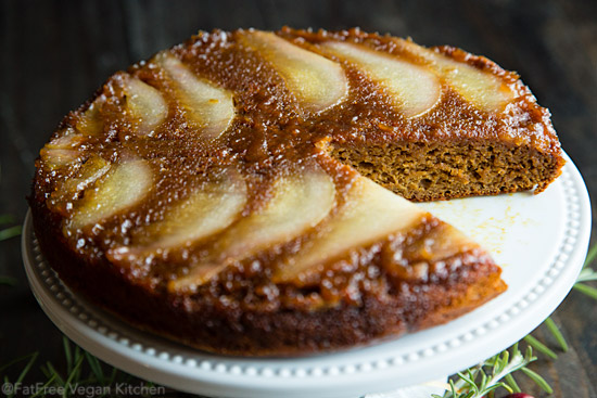 Pear Spice Upside-Down Cake: Vegan and Almost Fat-Free #wfpbno #wfpb