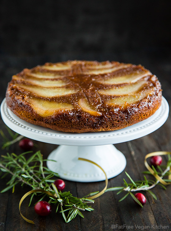 Pear Spice Upside-Down Cake: Vegan and Almost Fat-Free #vegan #wfpb #fok #wfpbno