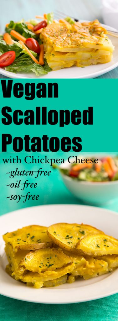 These delicious vegan scalloped potatoes are made with a sauce thickened with chickpeas--oil-free, gluten-free, soy-free. #vegan #wfpb