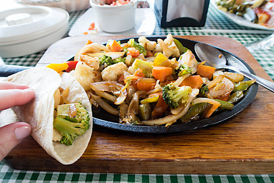 Off the ship, vegan fajitas in Cozumel