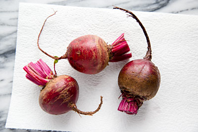Beets prepared for roasting