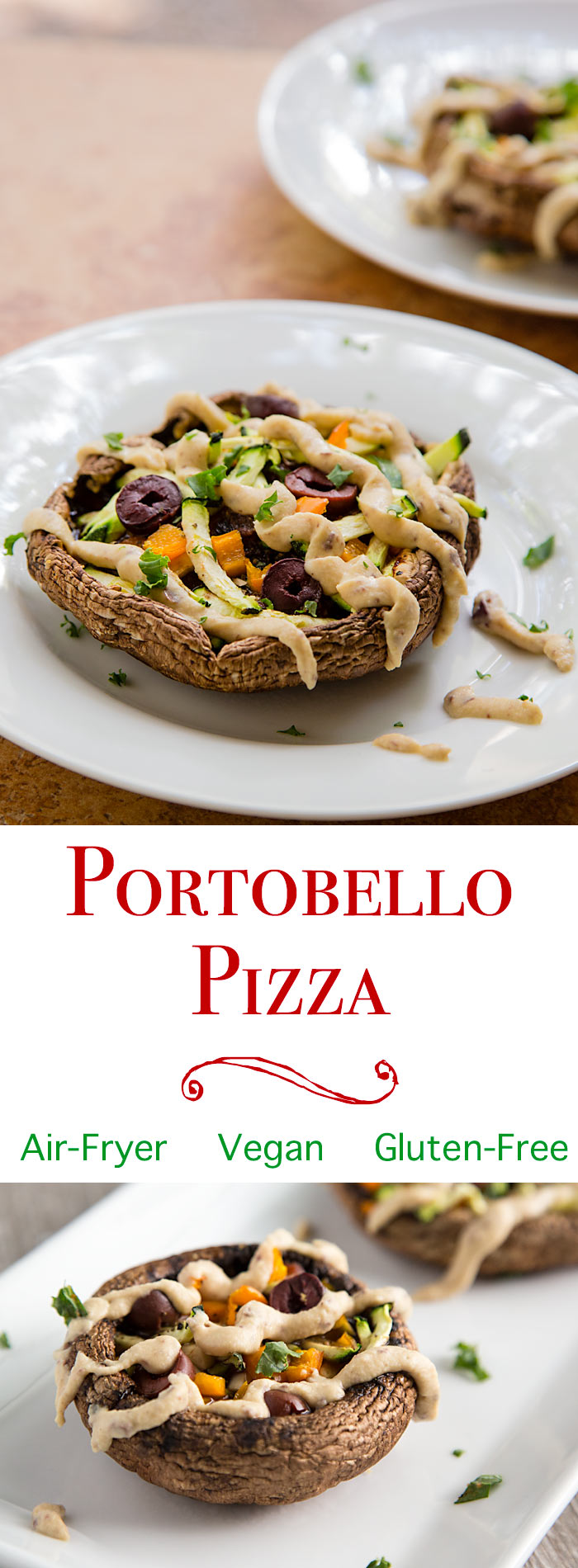 Portobello mushroom pizzas are a light, easy alternative to personal pizzas. Enjoy them as delicious vegan appetizers or snacks. Gluten-free. Oil-free. Air Fryer.