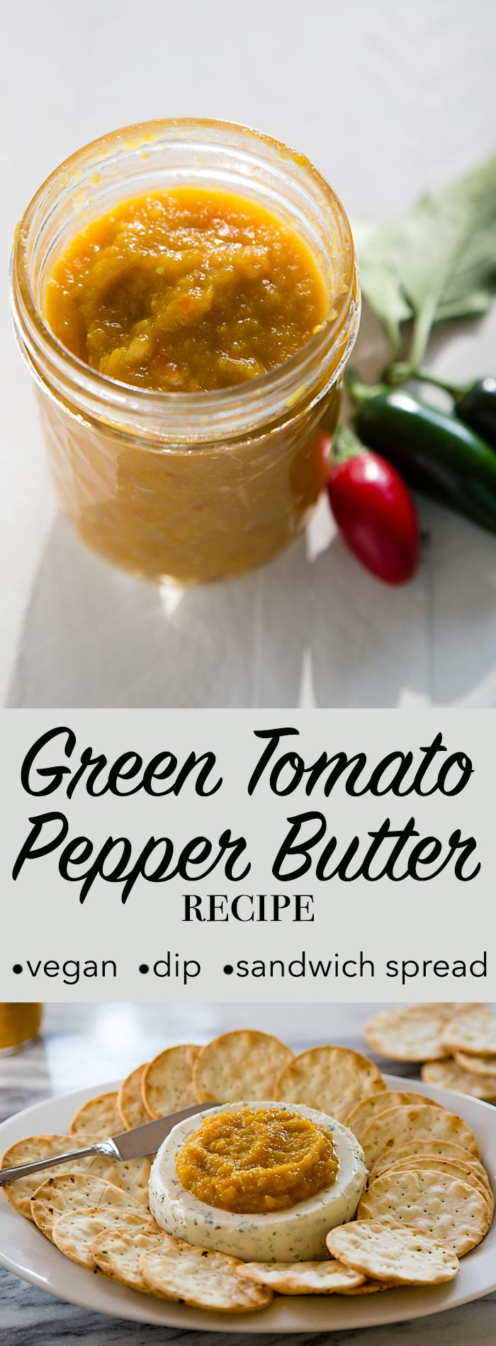 This Green Tomato Pepper Butter is a sweet-tangy spread that can be as spicy as you want. Use it on sandwiches, in appetizers, and as a base for stir-fries. Vegan, gluten-free.