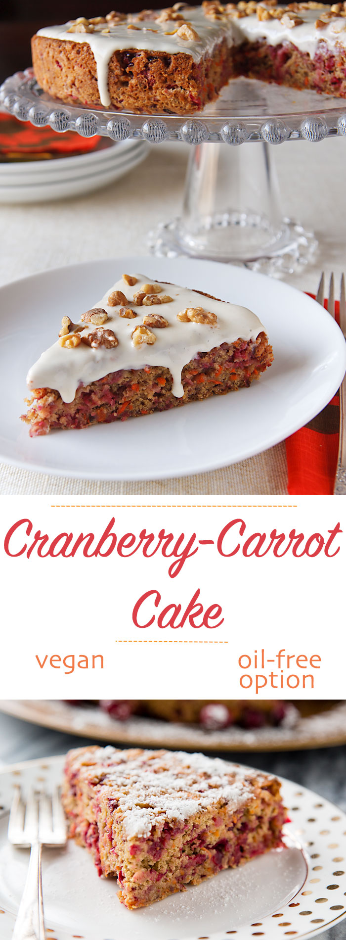 Cranberries add a tangy, fresh flavor while carrots provide sweetness in this colorful, vegan Cranberry-Carrot Cake. Perfect for Thanksgiving or Christmas.