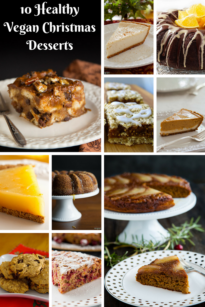 10 Healthy Vegan Christmas Dessert Recipes from FatFree Vegan Kitchen: Chocolate-Orange Cake, Eggnog Cheesecake, Skinny Figgy Bars, and much more! #vegan #plantbased #wfpb #wfpbno #desserts #christmas #lowfat #chocolate #fok
