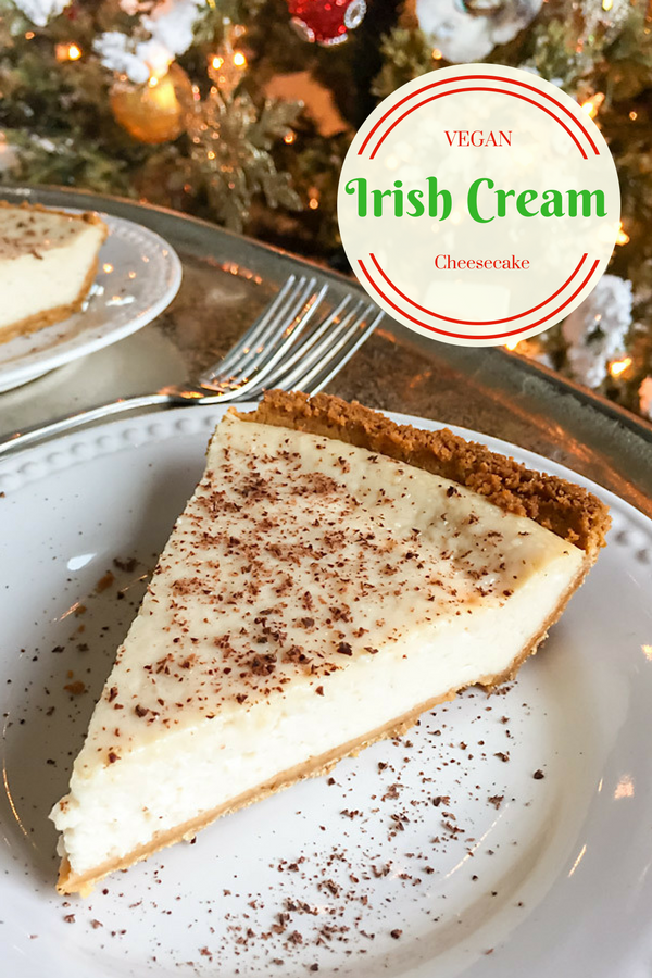 This rich vegan Irish Cream Cheesecake is made with Bailey's Almande, a gluten-free, vegan beverage made with almond milk.