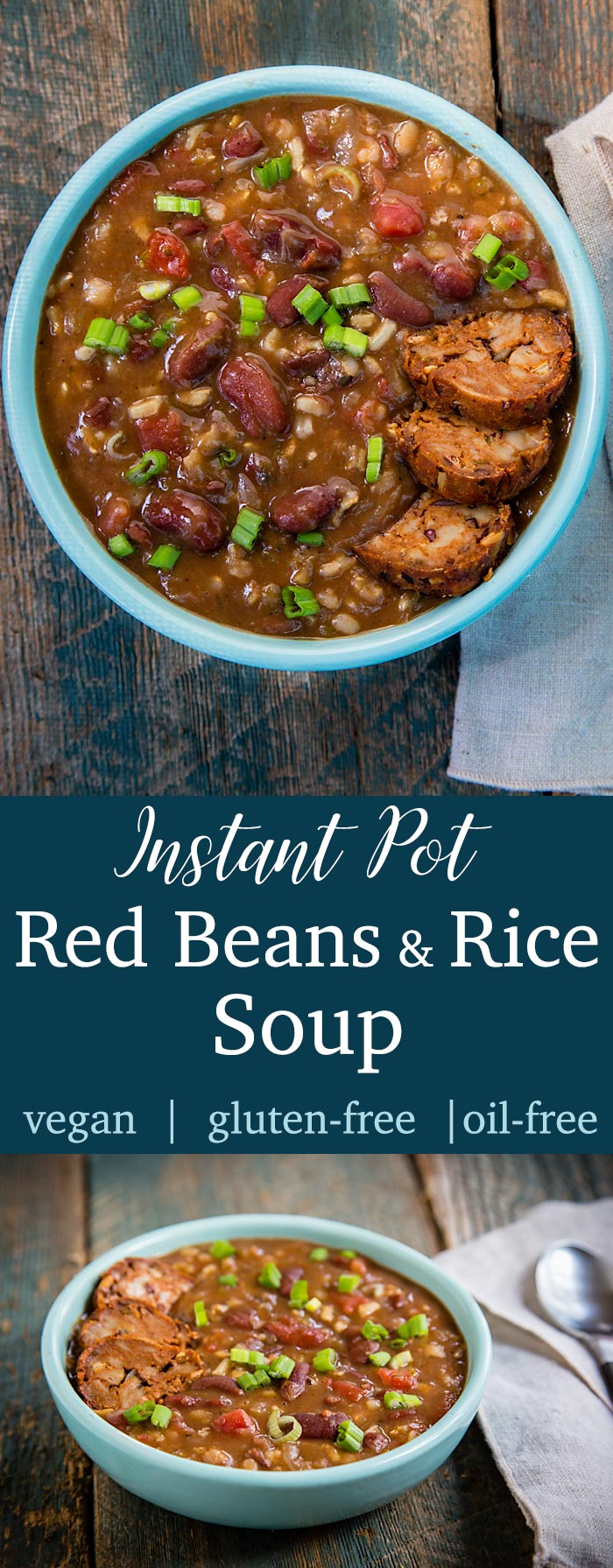 This vegan Instant Pot Red Beans and Rice Soup is a hearty, richly seasoned soup version of the traditional New Orleans' dish. Low in fat and high in plant protein, this gluten-free soup counts as 2 smart points on the Weight Watchers Freestyle program.
