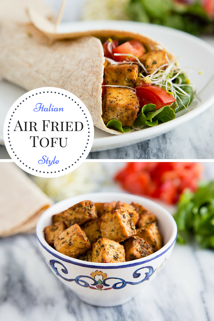 Italian Style Air Fried Tofu is the perfect filling for a delicious vegan wrap. Zero Weight Watchers smart points. #wfpb #vegan #weightwatchers #glutenfree #veganweightwatchers