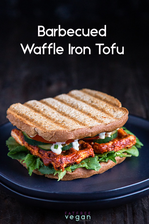 Barbecued Waffle Iron Tofu: Tofu is coated in sugar-free barbecue sauce and then quick-cooked on a waffle iron for the chewiest, most flavorful tofu in under 10 minutes. This gluten-free treat is vegan and zero Weight Watchers smart points.