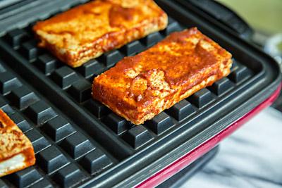 Tofu on Waffle Iron