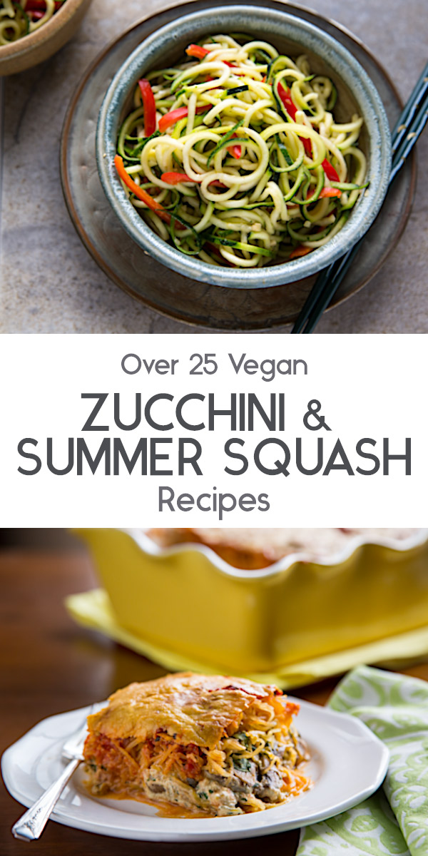 Check out my large collection of low-fat, vegan zucchini and summer squash recipes, including patty pan squash, spaghetti squash, and yellow squash.