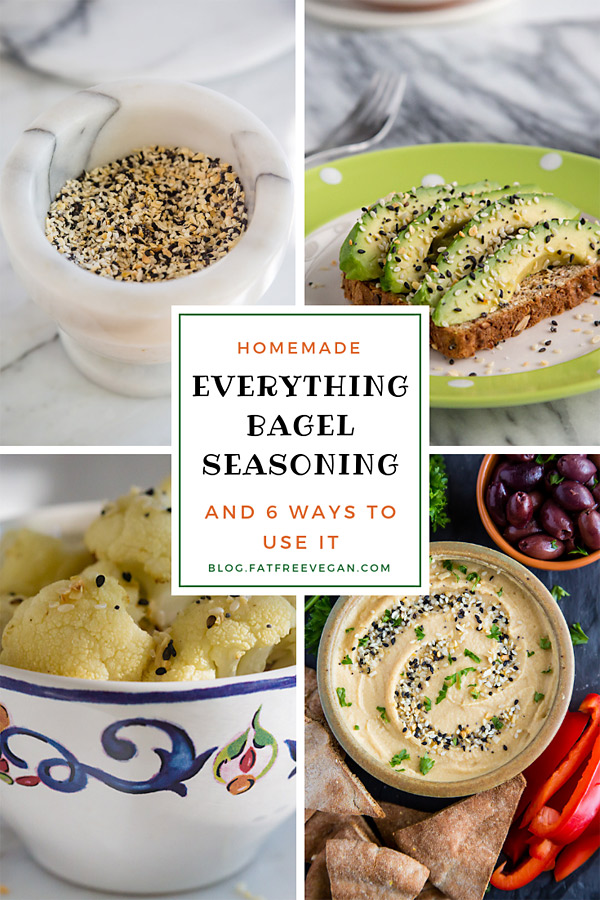 Homemade Everything Bagel Seasoning: Make your own Everything but the Bagel Sesame Seasoning blend and use it in these six creative ways. Save money and cut the sodium! #vegan #recipe #everythingbagelhummus #avocadotoast #vegan #wfpb #traderjoes