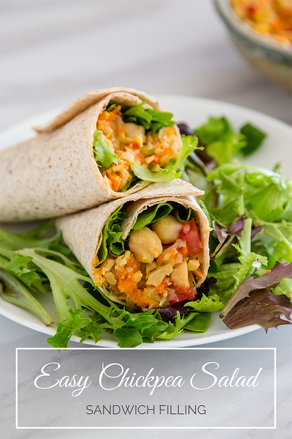 Easy Chickpea Salad Sandwich Filling: This easy chickpea salad makes a delicious, low-calorie filling for wraps and sandwiches. Perfect for vegan, plant-based diets. Zero Weight Watchers points. #vegan #wfpb #0points #zeropoints #plantbased