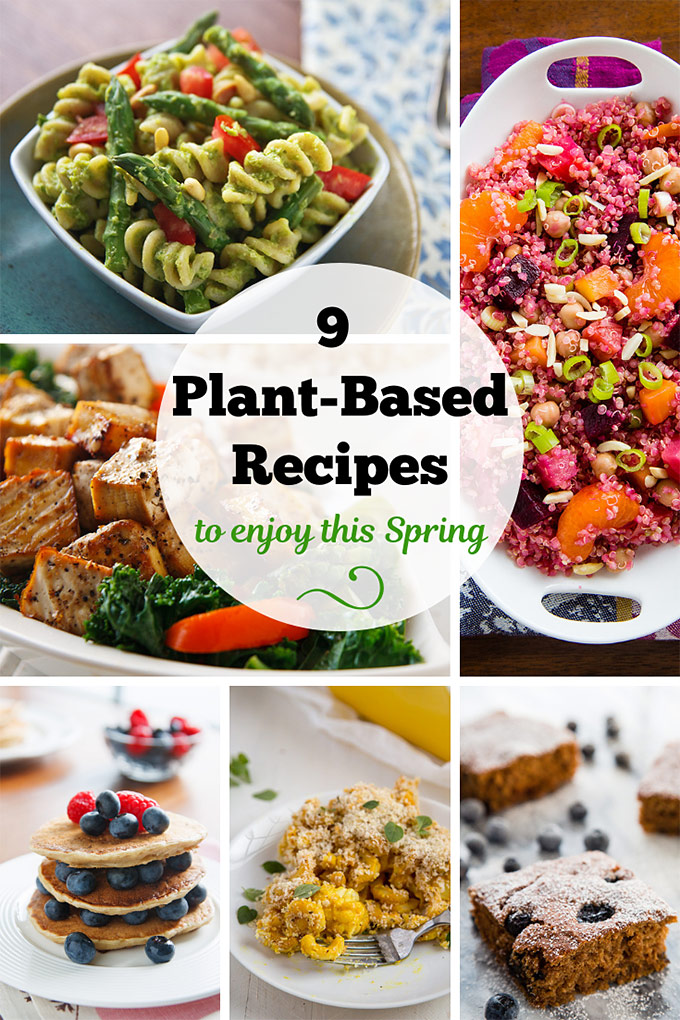 9 Plant-Based Recipes to Enjoy this Spring: Spring vegetables such as asparagus, beets, kale, and blueberries are appearing in markets around the US, so it's a great time to make these delicious, low-fat vegan dishes. #vegan #wfpb